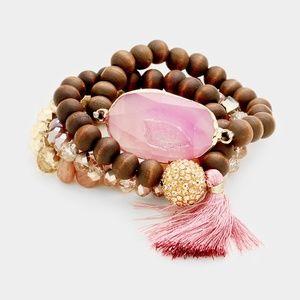 Jewelry - Wood beaded layered Stone and Tassel Bracelet